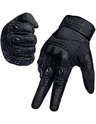FREETOO Outdoor Glove Men's Full Finger Gloves for Motocycle Cycling Climbing Hiking Black