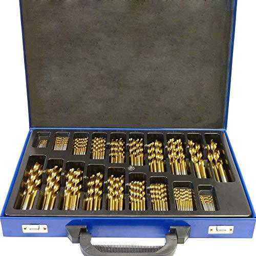 AUFUN Metallbohrer Set 170-teilig Spiralbohrer Holzbohrer HSS Bohrer Set 1-10 mm DIN 338 Spitzenwinkel 135° HSS-G Cobalt für alle handelsüblichen Bohrmaschinen