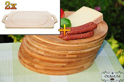 Picknickbrett, Vesperbrett Bruschetta-Schneidebrett 2 Stück aus Buche - SPÜLMASCHINENFEST '*' - massive, hochwertige ca. 15 mm starke Picknick-Grill-Holzbretter mit zwei Seitengriffen natur, Maße viereckig je ca. 36 cm x 29 cm & 8 Stück Schneidebrett - massive, hochwertige ca. 12 mm starke Picknick-Grill-Holzbretter mit Rillung natur, dunkles Bambus, Maße rund je ca. 25 cm Durchmesser als Bruschetta-Servierbrett, Brotzeitbrett, Bayerisches Brotzeitbrettl, NEU Massive Schneidebretter