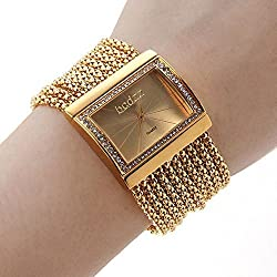 LightInTheBox Elegant Crystal Decoration Bangle Gold Stainless Steel Bracelet Watch for Women Ladies
