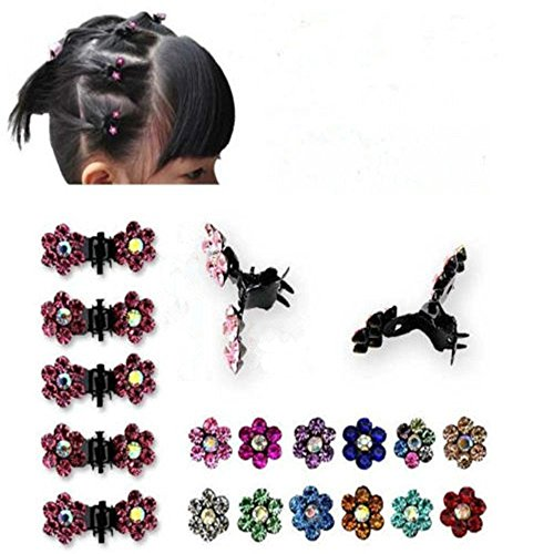 LQZ(TM) 12 Fille Femme Mini Pince à Cheveux Fleur Crabe Accessoires Cheveux Cristal Strass Violet