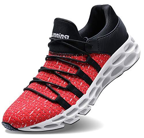 Wonesion Herren Fitness Laufschuhe Atmungsaktiv Rutschfeste Mode Sneaker Sportschuhe,   45 EU,   2-rot