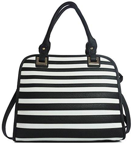 BHBS Femmes Designer Motif Stripe Inspiré fourre-tout Sac à Main épaule 32x29x10 cm (LxHXP) (Black et White)