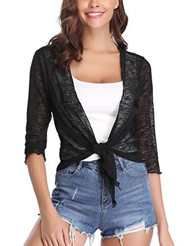 Abollria Damen Bolero 3/4 Arm Leicht Sommer Cardigan Elegante Dünne Jacke zum Knoten