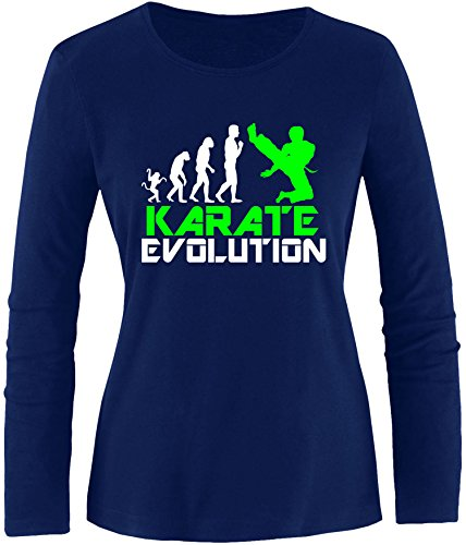EZYshirt® Karate Evolution Damen Longsleeve Navy/Weiss/Neongr