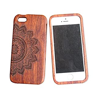 iPhone 5C 5s Wooden Phone Case iphone 5se Carved Wooden Case iphone 4s All Solid Wood case (iphone5C, Half flower)