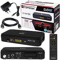 SATELLITEN SAT Receiver ✨ HB DIGITAL DVB-S/S2 Set: Hochwertiger DVB-S/S2 Receiver + HDMI Kabel mit vergoldeten Anschlüssen (HD Ready, HDTV, HDMI, SCART, USB 2.0, Koaxial Ausgang, Opticum AX150 )