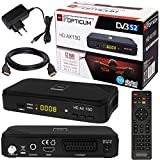 SATELLITEN SAT Receiver  HB DIGITAL DVB-S/S2 Set: Hochwertiger DVB-S/S2 Receiver + HDMI Kabel mit vergoldeten Anschlüssen (HD Ready, HDTV, HDMI, SCART, USB 2.0, Koaxial Ausgang, Opticum AX150 )