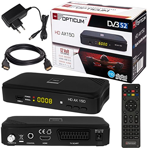 SATELLITEN SAT Receiver ✨ HB DIGITAL DVB-S/S2 Set: Hochwertiger DVB-S/S2 Receiver + HDMI Kabel mit vergoldeten Anschlüssen (HD Ready HDTV HDMI SCART USB 2.0, Koaxial Ausgang, Opticum AX150)