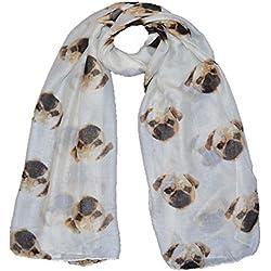 Bufanda de diseño de carlino, color crema