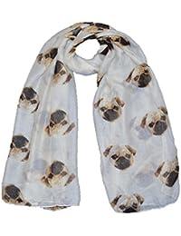 Luxury Maxi scarf Pug Dog design scarf cream