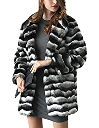 iBaste Abrigos de Pelo Sintético Mujer Chaquetas Estilo Medio y Largo Color  Mezclado Ondulado Abrigo Invierno 9e4cd8b05bb1