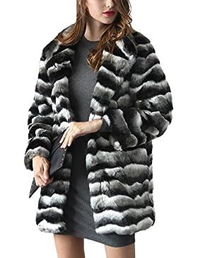 iBaste Abrigos de Pelo Sintético Mujer Chaquetas Estilo Medio y Largo Color Mezclado Ondulado Abrigo Invierno