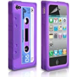 Yousave Accessories iPhone 4 / 4S Case Purple Blue and White Retro Cassette Tape Silicone Gel Cover