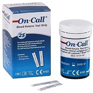 On Call GK Dual Ketone Teststreifen | 25 Stück passend für den On Call® GK Dual Blood Glucose & Ketone Meter | zur laborgenauen Messung von Blut-beta-Keton