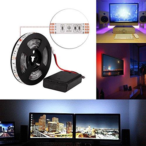 Tiras LED Iluminación 2M RGB 60LEDs Impermeable IP65 SMD 5050 Tira de luz flexible TV Manguera ligera Decorativo secuencia ligera DC4.5V + Operación de la batería