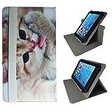 Case Cover für Odys Thor 10 plus 3G Tablet Schutzhülle Etui mit Touch Pen & Standfunktion - 10.1 Zoll Katze 2 360°