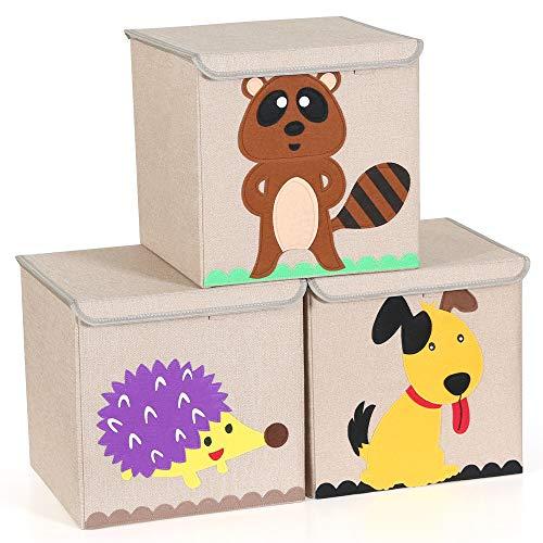 Tribesigns 3er-Set Aufbewahrungsbox, Waschbar Cartoon Aufbewahrungskiste Aufbewahrungswürfel Faltbare Spielzeug mit Deckel für Kinderzimmmer, Kinderspielzeug (33 x 33 x 33 cm Sortierte Tiere)