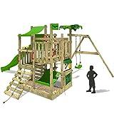 FATMOOSE Spielturm BananaBeach Kletterturm Baumhaus mit Schaukel, Rutsche und viel Spiel-Zubehör auf 4 Ebenen, apfelgrüne Rutsche