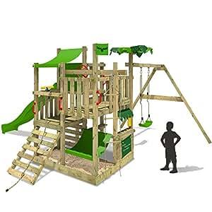 fatmoose spielturm bananabeach kletterturm baumhaus mit schaukel rutsche und viel spiel zubeh r. Black Bedroom Furniture Sets. Home Design Ideas