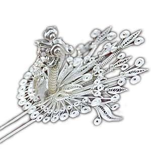 Fein 999 Haarschmuck Kleben Pin Sterling Silber Schmuck 100% Handarbeit # 108