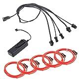 5 in 1 Rot Neon Beleuchtung 1m EL Kabel mit 3V Kontroller Adapter Flexibel Wasserdicht für Weihnachten Halloween Partys Kostüm Autos Dekor Geschenk