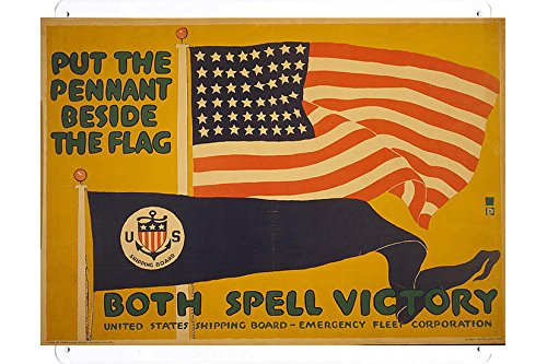 world-war-i-one-tin-sign-metal-poster-reproduction-of-put-the-pennant-beside-the-flag-both-spell-vic