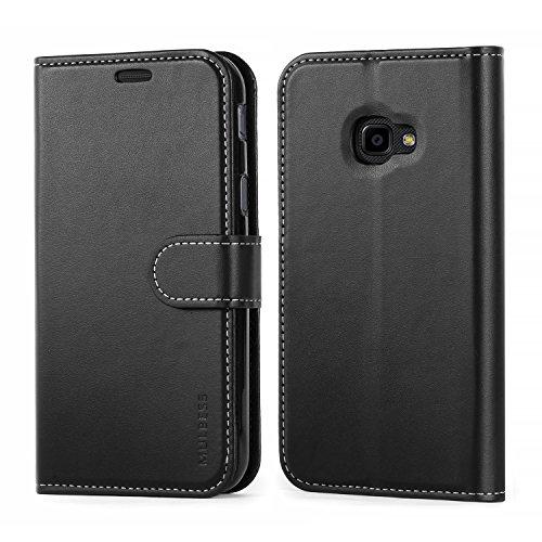 Mulbess Business Style Ledertasche im Ständer Book Case / Kartenfach für Samsung Galaxy XCover 4 Tasche Hülle Leder Etui,Schwarz