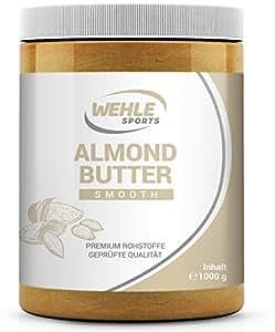 Mandelbutter 1kg – Premium Mandelmus – Wehle Sports Almond Butter natürliches Nussmus veganer/ vegetarischer Brotaufstrich für Smoothies, Backen, Snack (Smooth, 1kg)