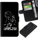 EuroCase - Samsung Galaxy S4 IV I9500 - I Want You Dark Side Vader - Cuero PU Delgado caso cubierta Shell Armor Funda Case Cover