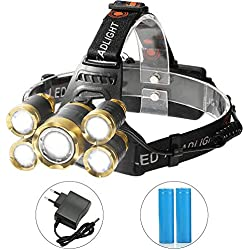 Shanke Linternas Frontal LED Linternas de Cabeza Alta Potencia 8000 Lúmenes, 4 Modos de Iluminación Batería Recargable para Camping, Running, Caza, Pesca, Ciclismo, Luz de Emergencia y Aire Libre