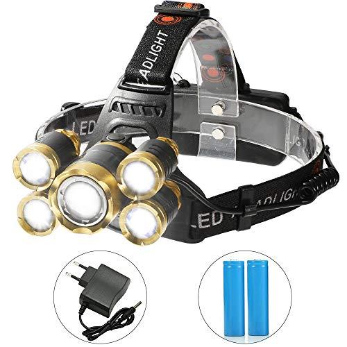 Shanke Zoomable leistungsfähiger Scheinwerfer, 8000lm 5 LED Stirnlampe mit Detektor, Superheller LED Kopflampe, Wasserdichte Stirnlampe, europäischer Stecker, 4 Modi, für Kampieren, Autoreparatur