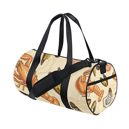 Meeresfrüchte-rack (TIZORAX Meeresfrüchte Garnelen Scallop Fitnessraum Duffle Bag Drum Tote Reisetasche Rooftop Rack Tasche)