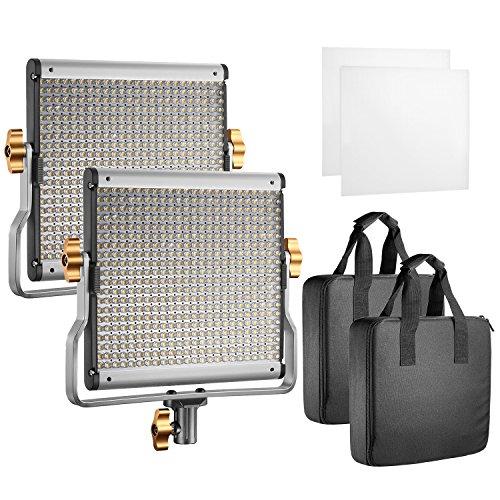 Neewer 2 Pack dimmbare zweifarbige LED Videoleuchte mit U-Halterung für Studio, YouTube im Freien-Video-Beleuchtung-Set, haltbare Metallrahmen, 480 LED Perlen, 3200-5600K, CRI 96+(EU Stecker)