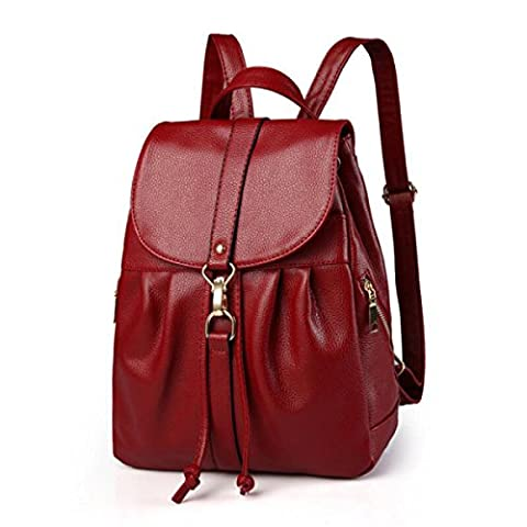 MEI Ladies Shoulder Bag Casual Backpack PU Leather Solid Color,Red-26*11*33cm