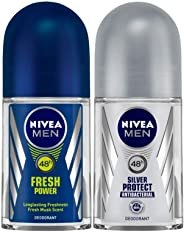 NIVEA MEN Deodorant Roll-on, Fresh Power, 50ml and NIVEA MEN, Deodorant Roll-on, Silver Protect Antibacterial, 50ml
