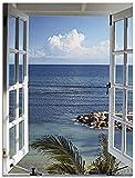 Artland Glasbilder Wandbild Glas Bild einteilig 45x60 cm Hochformat Landschaft Fensterblick Meer Strand Natur Blau Fenster zum Paradies Urlaub T9II