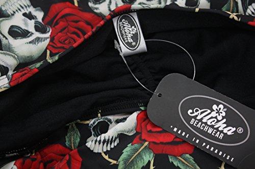 Aloha-Beachwear Damen Neckholder Badeanzug im Vintage Retro Look Rose Skull Totenkopf, A30720 mehrfarbig (XL / 44 / UK 18) -