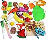 Lewo 33 Pièces Jeu de Cuisine Jeu D'imitation Jouet à Découper Légumes et Fruits en Bois Jouet Alimentaire Magnétique Jouer à la Cuisine Jouets éducatifs pour Les Enfants Tout-Petits Garçons Filles