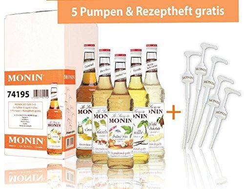 MONIN-SET Café 5+5 - 5x Kaffee Sirup + 5x Pumpen + Rezeptheft - Karamell, Vanille, Praline-Nuss,...