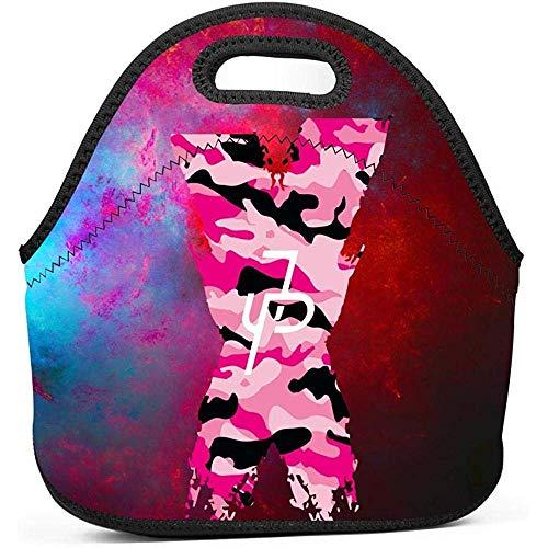 Kühltasche,Pink Camo X Logo Jake-Paul Wasserdichte Lunchpakete Isolierte Tragetaschen Erwachsene Kinder Lunchpakete Für Schularbeiten Büro Camping Reisen - Camo Reißverschluss Tote