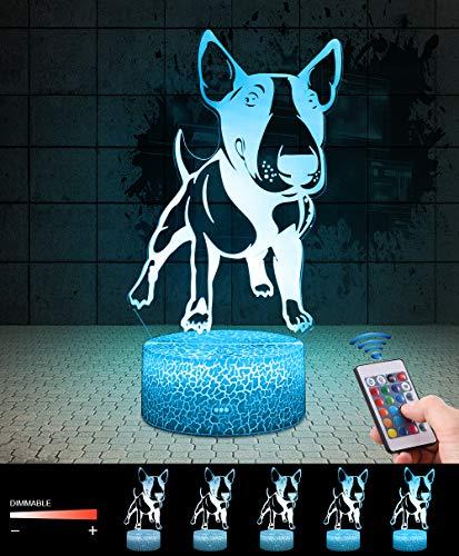 3D Hund Pitbull Lampe LED Nachtlicht mit Fernbedienung, QiLiTd 7 Farben Wählbar Dimmbare Touch Schalter Nachtlampe Geburtstag Geschenk, Frohe Weihnachten Geschenke Für Mädchen Männer Frauen Kinder (Lackiert Hunde Für Halloween)