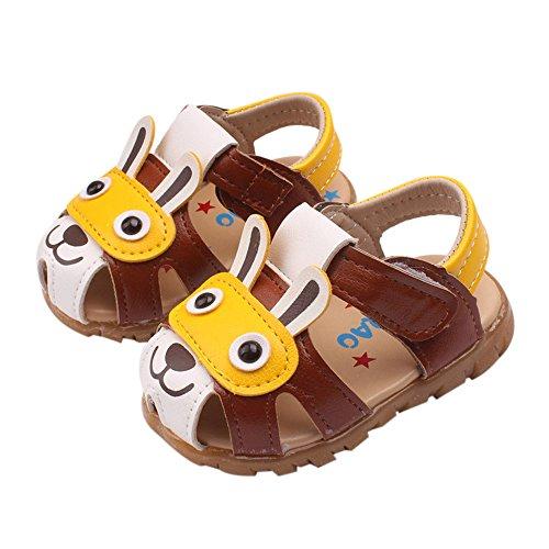 Mode Freizeit Karikatur Weiches Leder Babyschuhe - Antirutsch Leucht Casual Schuhe Kinderschuhe, Neugeborene Baby Junge Kleinkind Schuhe Krabbelschuhe Wanderschuhe für 0-6 Jahre Alt (1-1,5T, Kaffee)
