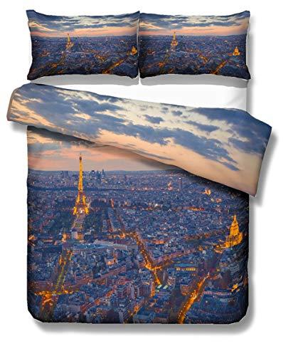 3D Bettbezug Set, DOTBUY 3 Stück Super Weiche Angenehme Mikrofaser Einfache Bettwäsche Set Gemütlich Enthalten Bettbezug Kissenbezug Betten Schlafzimmer (200x200cm,Paris) -