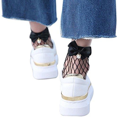 SHOBDW Damen Netzsocken, Frauen Ruffle Netzsknöchelstrümpfe Mesh-Spitze Fisch-Netz kurze Socken (Schwarz) -