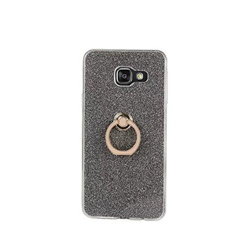 EKINHUI Case Cover Luxus Bling Sparkle Style Case, Soft TPU [Silikon] Flexible Glitter Rückentasche mit Fingerring Stand [Anti Scratch] [Shockproof] für Samsung Galaxy A310 (A3 2016) ( Color : Blue ) Black