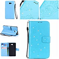 Casefirst Sony Xperia M2 wallet case Sony Xperia M2 case,Premium Design PU Leather & Soft TPU Built-In Card/Cash Slots,Wallet Case By (Sky-blue)