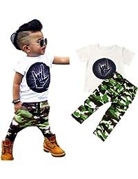 LANDFOX La camiseta de la letra del bebé del bebé recién nacido abarca el sistema de la ropa de los pantalones del camuflaje