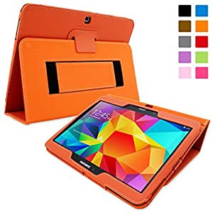 Snugg Galaxy Tab 4 10.1 Case - Smart Cover with Flip Stand & Lifetime Guarantee (Orange Leather) for Samsung Galaxy Tab 4 10.1