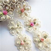 183 cm de ruban de dentelle à perles avec motif floral vintage, 5 cm de large, couleur abricot - décoration de couture, pour robes de mariage, loisirs créatifs, décorations de fêtes et vêtements, broderie